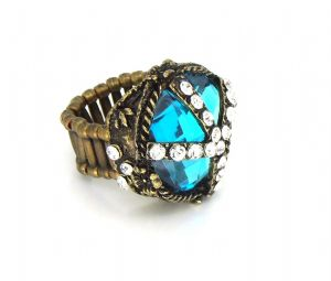 Vampire diaries ring - Vintage big Blue crystal stretchy ring, prop replica